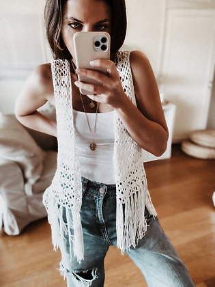 White Fringes Crochet Jacket