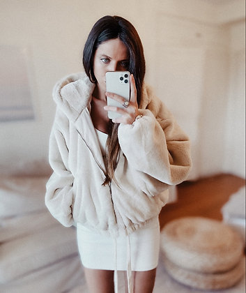 Oversized Cream Fur Coat