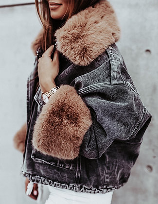Brown Fur Black Denim Coat