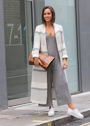Stripe Grey Maxi Coat