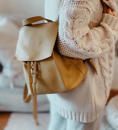 Mustard Faux Suede Backpack Bag