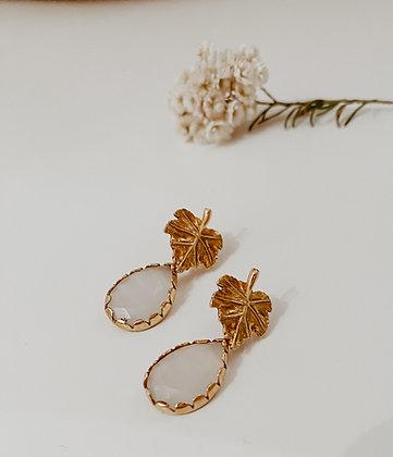 Golden Leaf 925 Sterling Silver Earrings