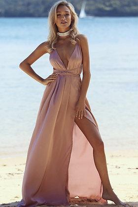 Coral Satin Maxi Dress