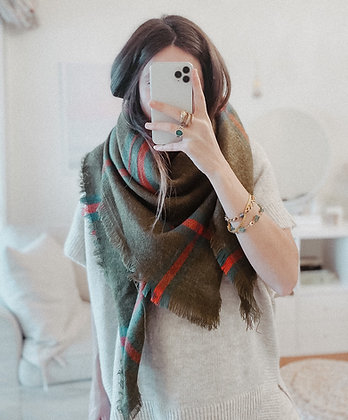 Green Knit Check Scarf