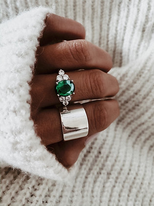 Emerald Crown 925 Silver Ring