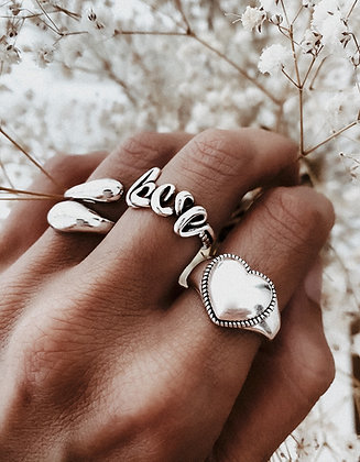 Full Heart 925 Silver Ring