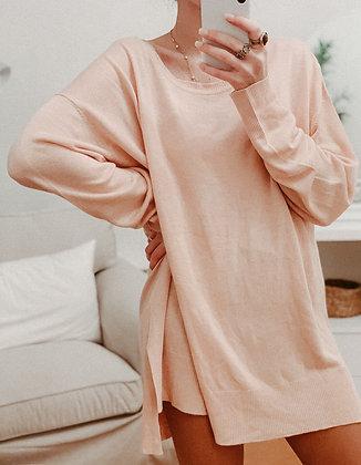 Coral Knit Sweater Dress
