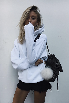 White Hoodie Oversized Sweater