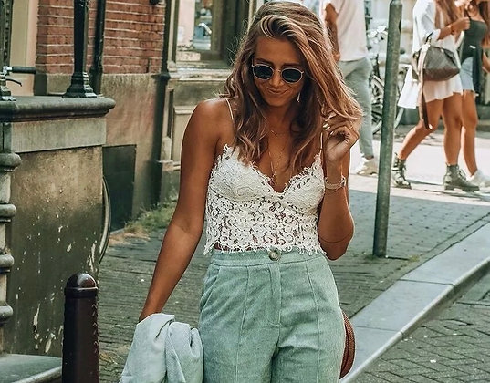 Lace Flowered White Top