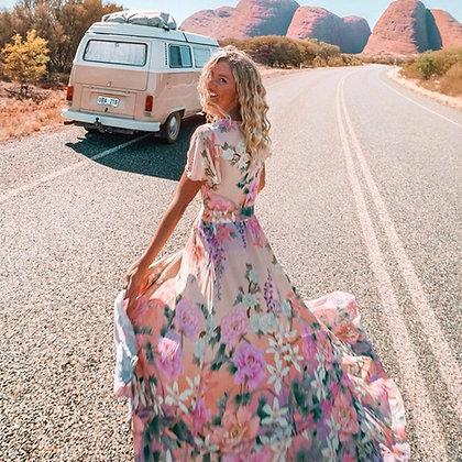 Flying Flowers Ruffle Dress