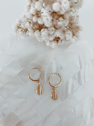 Shell 925 Golden 100% Sterling Silver Earrings