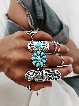 Turquoise Love Rings Set
