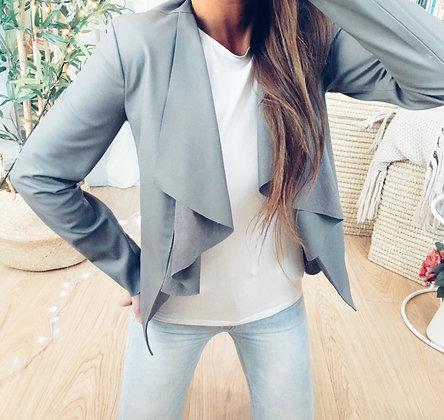 Grey Waterfall Leather Blazer
