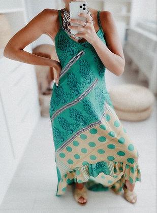 Green Peacock Silk Dress