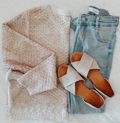 Coral Lace Knit Oversized Sweater