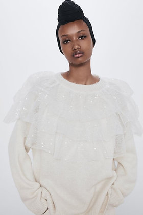 Oversized Knit Sequins Sweater