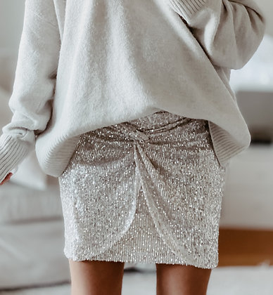 Sequins Knot Mini Skirt