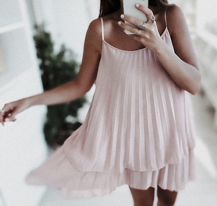 Flowing Nude Cocktail Dress