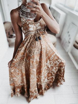 Silk Earth Ruffle Dress