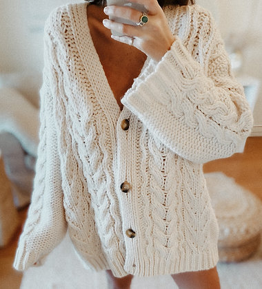 Oversized Cream Knit Cardigan