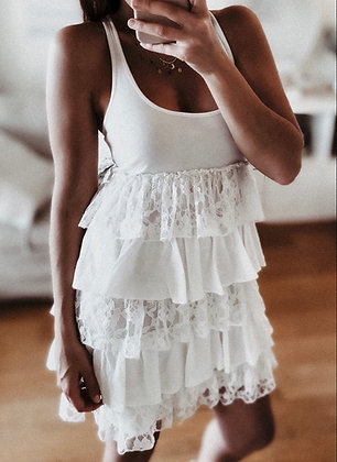 Ruffle Lace White Dress
