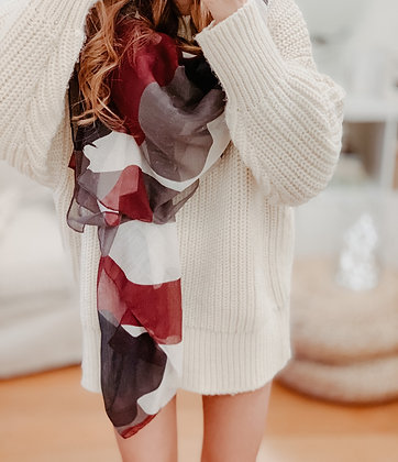 Burgundy Grey Scarf