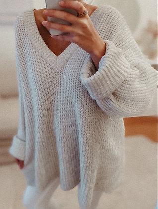 Oversized Light Grey Knit Sweater