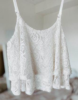 Ruffle Lace White Top