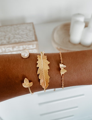 Pearl Leaf Bracelet Set