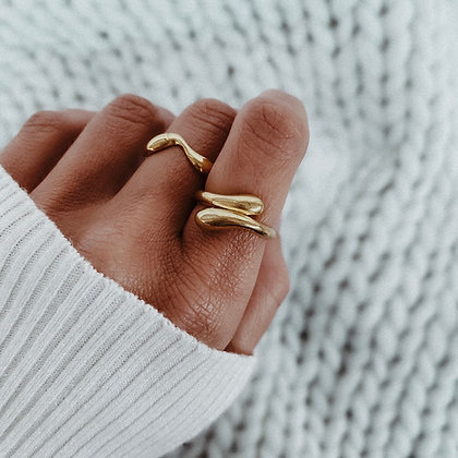 Golden Tear 925 Silver Ring