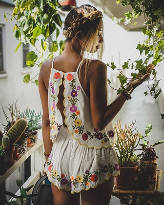Backless Flowered Suit