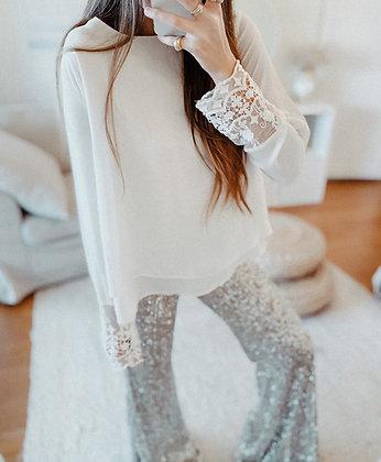 White Lace Layered Blouse