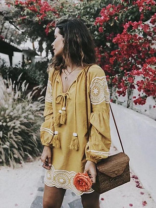 Dancing Mustard Embroidered Tunic