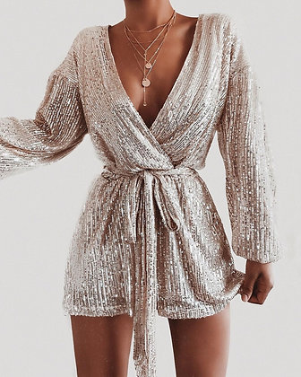 Silver Sequins Jumpsuit