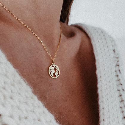 World 925 Gold-Plated Silver Necklace