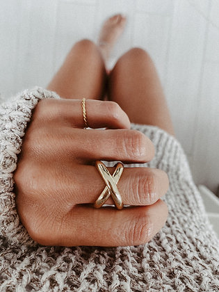 Crossway Golden 925 Sterling Silver Ring