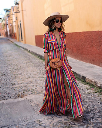 Multicolored Stripe Dress