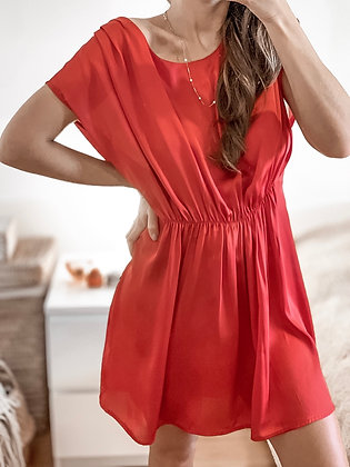 Satin Red Cocktail Dress