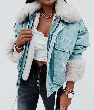 Jeans Denim Fur Coat