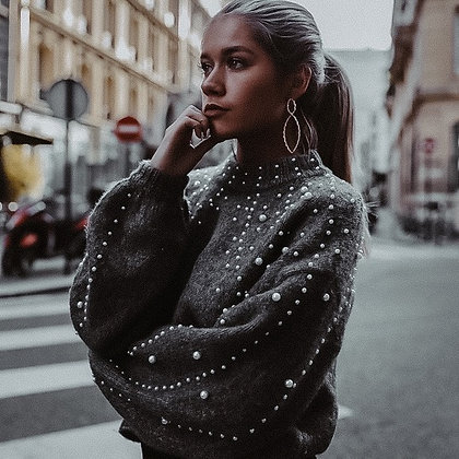 Grey Pearls Knit Sweater