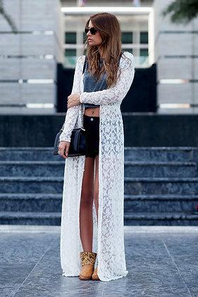 White Lace Maxi Kimono