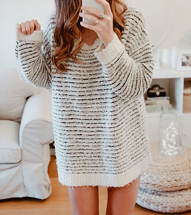 White Sequins Oversized Sweater