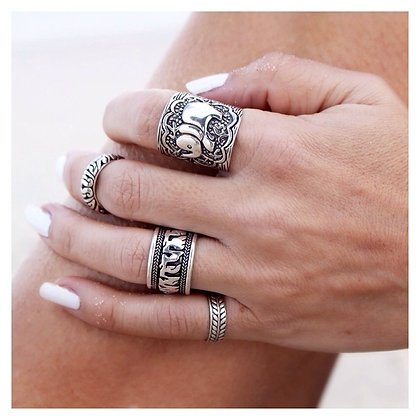 Indian Silver Rings Set