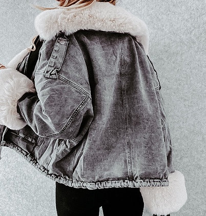 Black Denim Faux Fur Coat