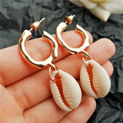 Shell Golden Hoop Earrings