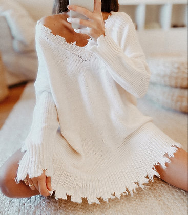 Oversized White Sweater Dress