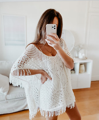 White Fringe Boho Kimono