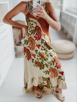 Earthy Colors Ruffles Dress