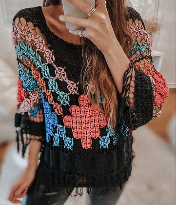 Crochet Colored Black Top