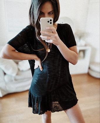 Black Knit Assymetric Dress